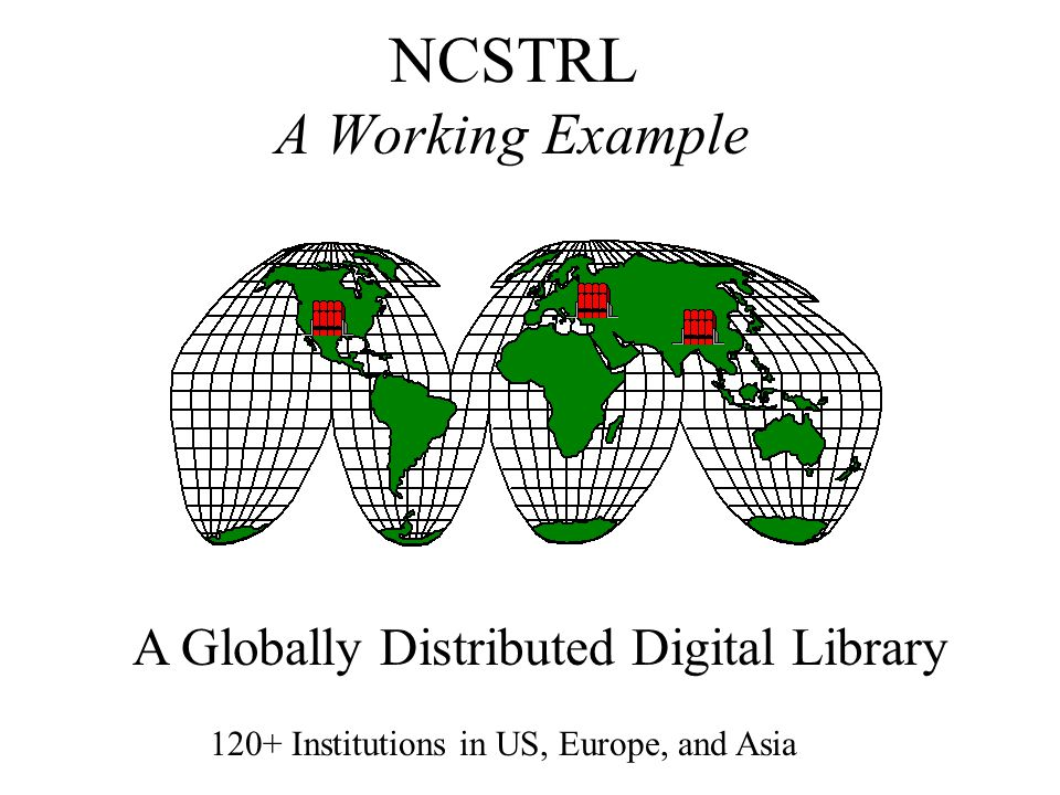 NCSTRL A Working Example 120+ Institutions in US, Europe, and Asia A Globally Distributed Digital Library
