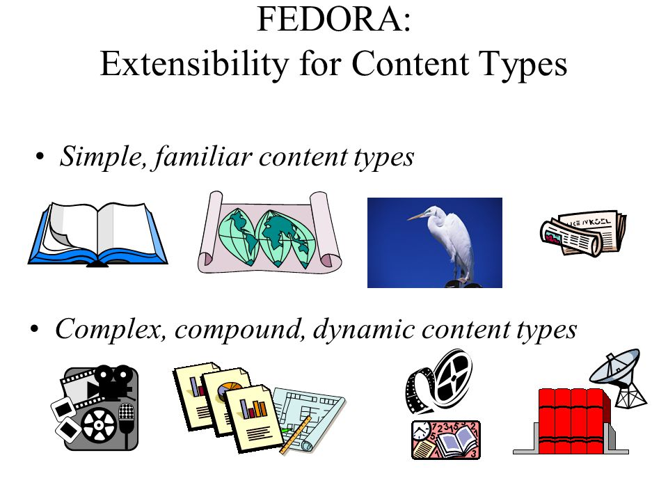 FEDORA: Extensibility for Content Types Simple, familiar content types Complex, compound, dynamic content types