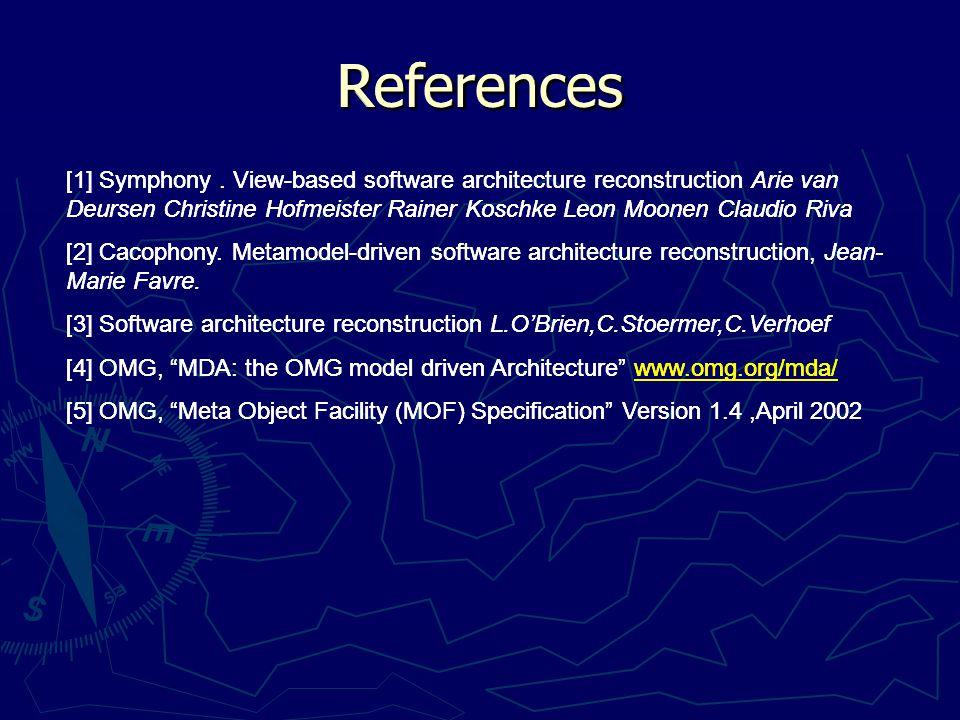 [1] Symphony. View-based software architecture reconstruction Arie van Deursen Christine Hofmeister Rainer Koschke Leon Moonen Claudio Riva [2] Cacoph