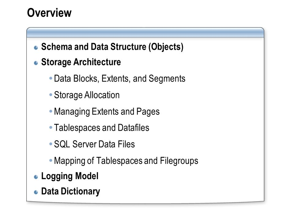 Overview Schema and Data Structure (Objects) Storage Architecture  Data Blocks, Extents, and Segments  Storage Allocation  Managing Extents and Pag