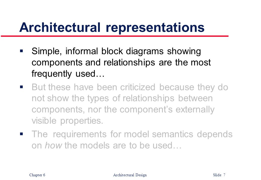 Chapter 6 Architectural Design Slide 7 Architectural representations  Simple, informal block diagrams showing components and relationships are the mo