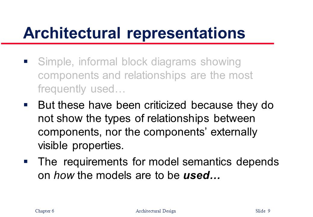 Chapter 6 Architectural Design Slide 9 Architectural representations  Simple, informal block diagrams showing components and relationships are the mo