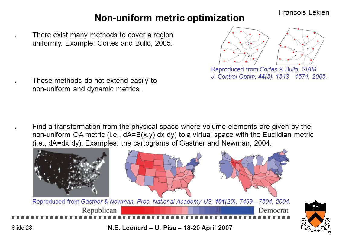 N.E. Leonard – U. Pisa – 18-20 April 2007 Slide 28 Non-uniform metric optimization There exist many methods to cover a region uniformly. Example: Cort