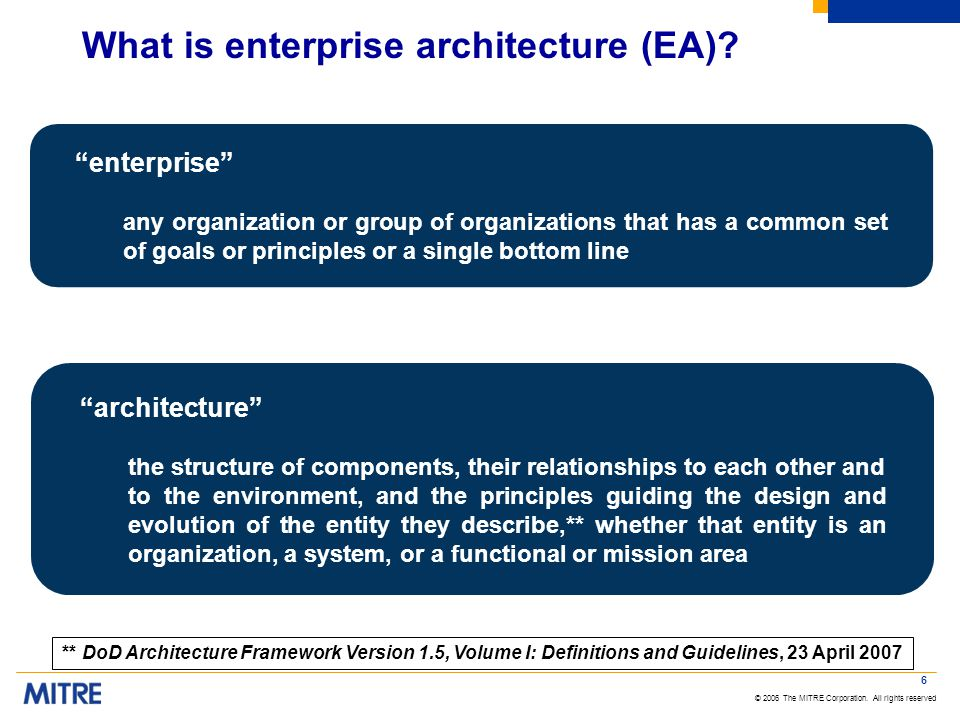 © 2006 The MITRE Corporation. All rights reserved What is enterprise architecture (EA).