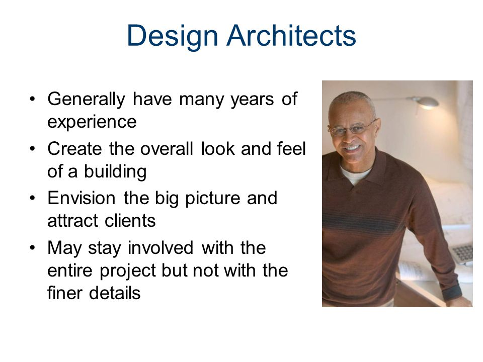Project Architects Make sure that the drawings are put together correctly Make sure that the building can actually be built Make sure the design meets codes and zoning laws Make sure the design meets the functional needs of the client