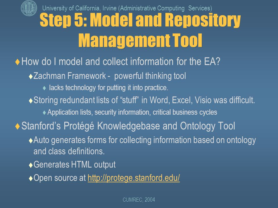 University of California, Irvine (Administrative Computing Services) CUMREC, 2004 Step 5: Model and Repository Management Tool  How do I model and collect information for the EA.