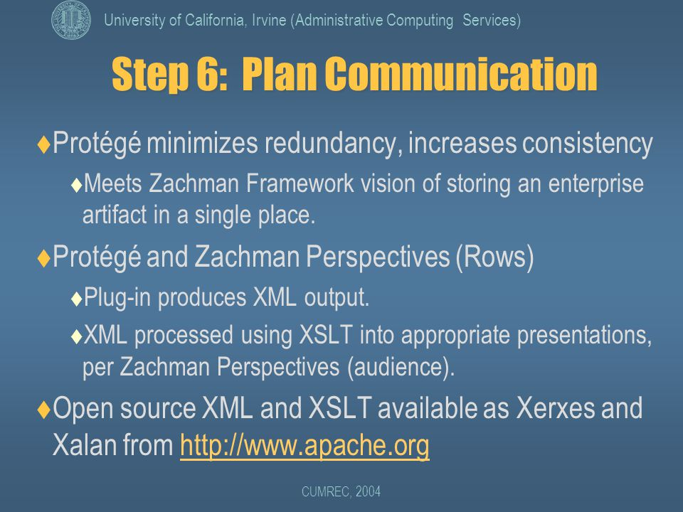 University of California, Irvine (Administrative Computing Services) CUMREC, 2004 Step 6: Plan Communication  Protégé minimizes redundancy, increases consistency  Meets Zachman Framework vision of storing an enterprise artifact in a single place.