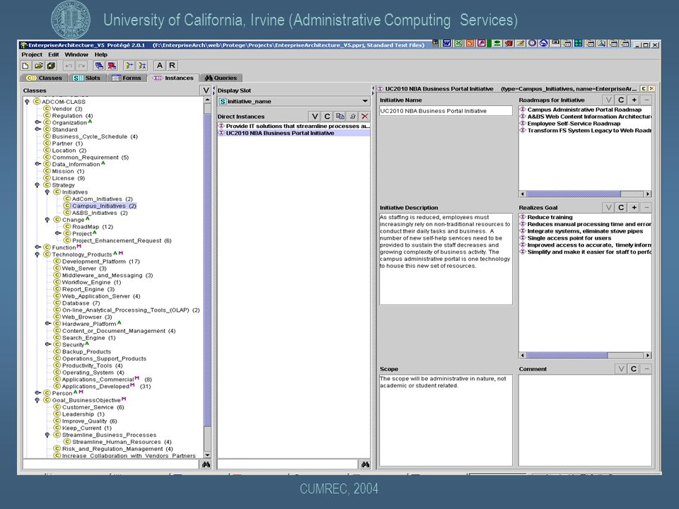 University of California, Irvine (Administrative Computing Services) CUMREC, 2004 Example: Protege