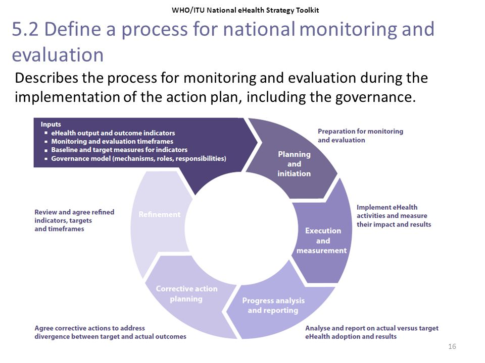 5.2 Define a process for national monitoring and evaluation Describes the process for monitoring and evaluation during the implementation of the actio
