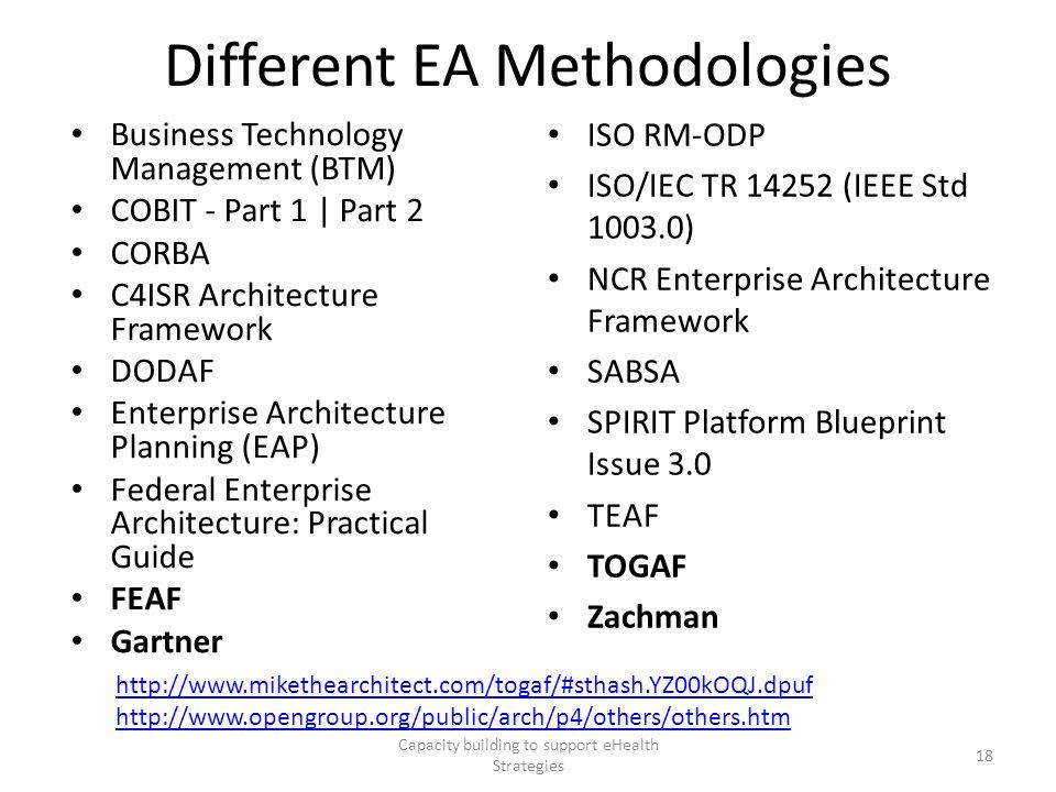 Different EA Methodologies Business Technology Management (BTM) COBIT - Part 1   Part 2 CORBA C4ISR Architecture Framework DODAF Enterprise Architectu