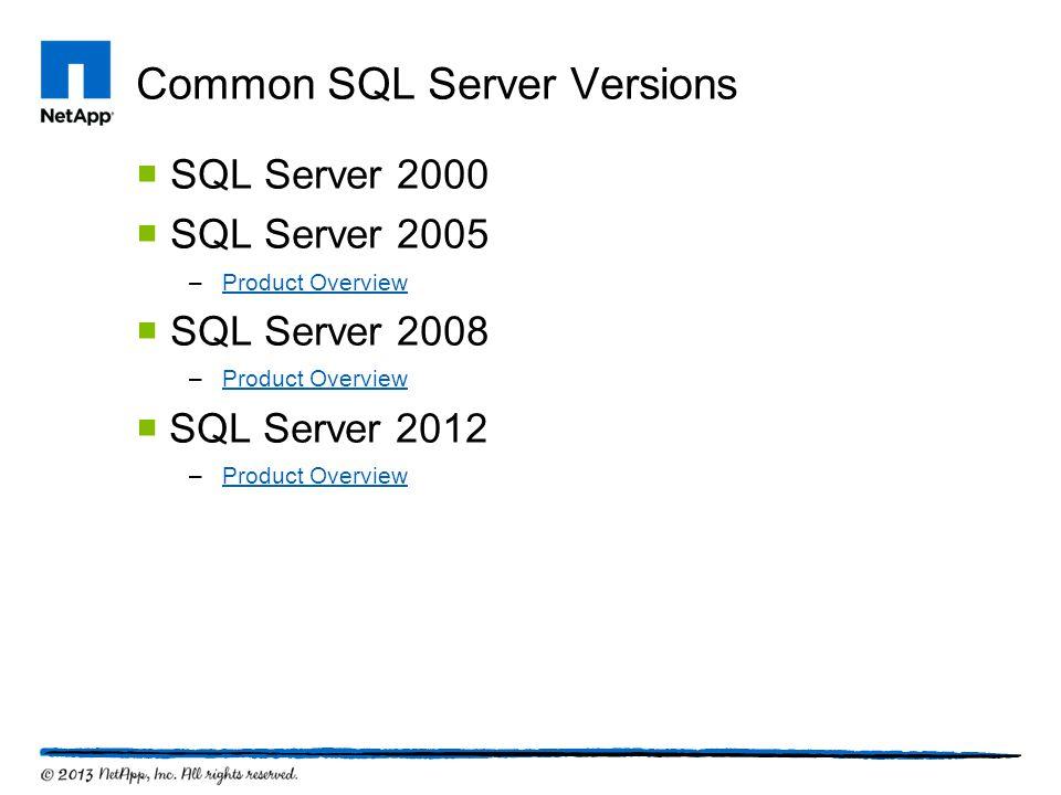 Common SQL Server Versions  SQL Server 2000  SQL Server 2005 –Product OverviewProduct Overview  SQL Server 2008 –Product OverviewProduct Overview 