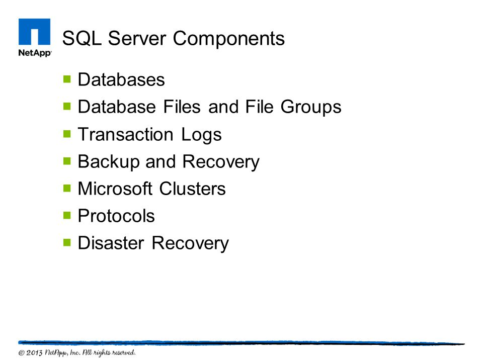 SQL Server Components  Databases  Database Files and File Groups  Transaction Logs  Backup and Recovery  Microsoft Clusters  Protocols  Disaste