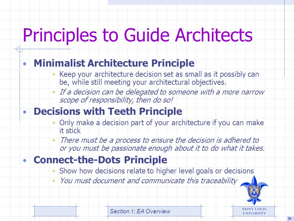 Principles to Guide Architects Minimalist Architecture Principle Keep your architecture decision set as small as it possibly can be, while still meeti