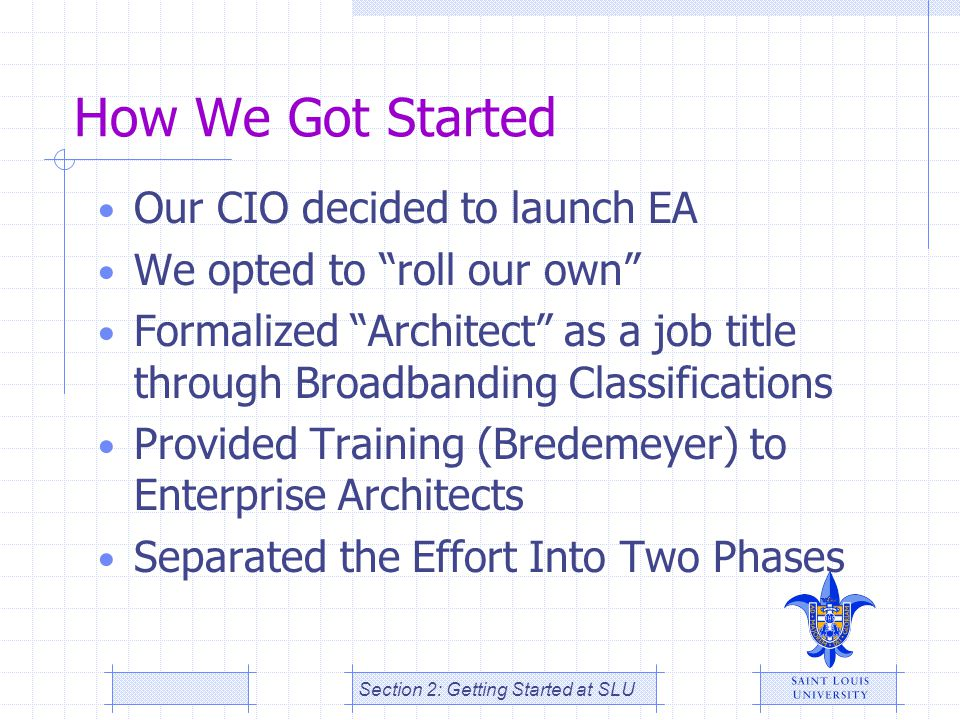"How We Got Started Our CIO decided to launch EA We opted to ""roll our own"" Formalized ""Architect"" as a job title through Broadbanding Classifications"