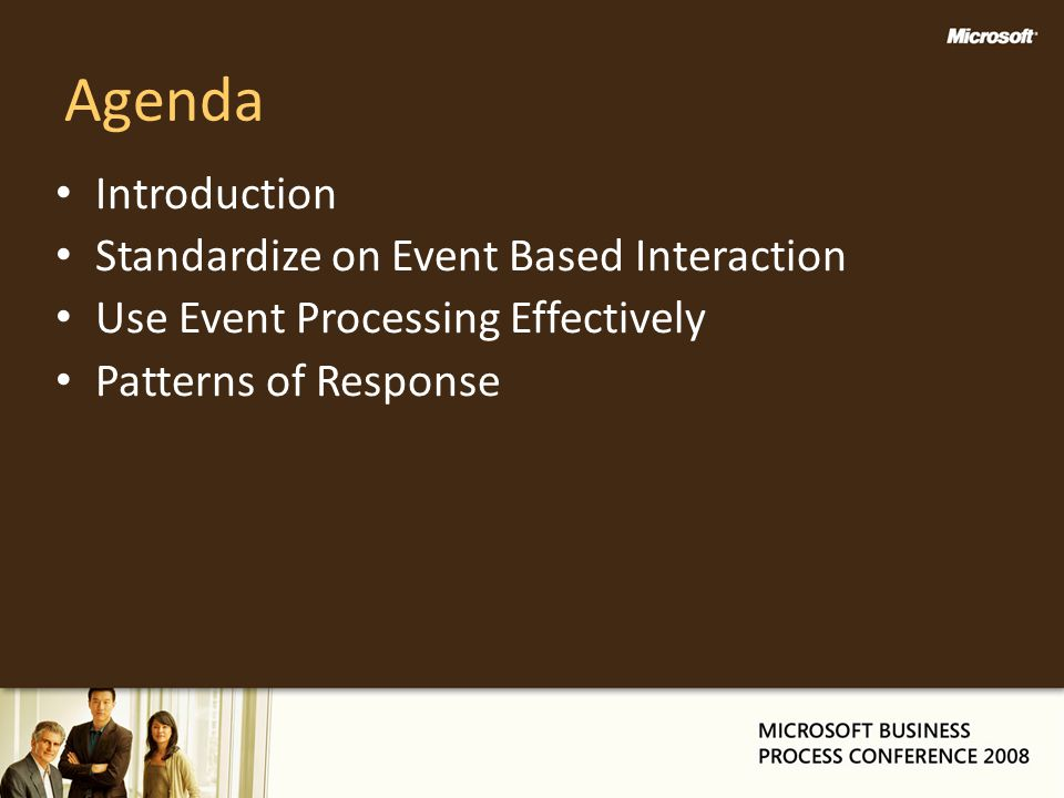 Agenda Introduction Standardize on Event Based Interaction Use Event Processing Effectively Patterns of Response