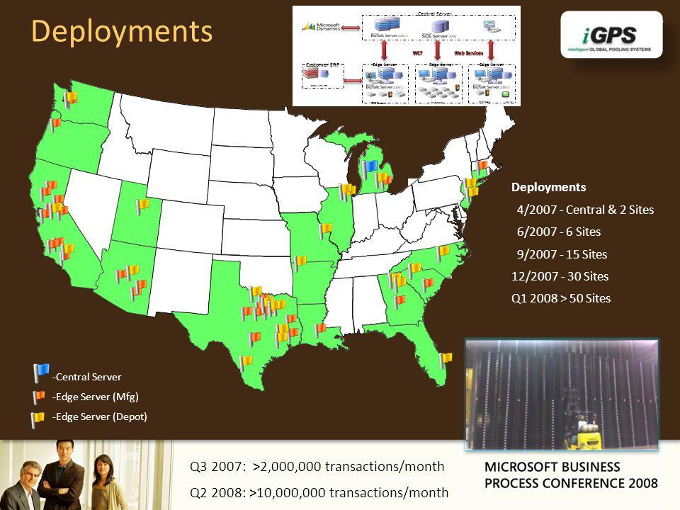 Deployments 4/2007 - Central & 2 Sites 6/2007 - 6 Sites 9/2007 - 15 Sites 12/2007 - 30 Sites Q1 2008 > 50 Sites -Central Server -Edge Server (Mfg) -Ed