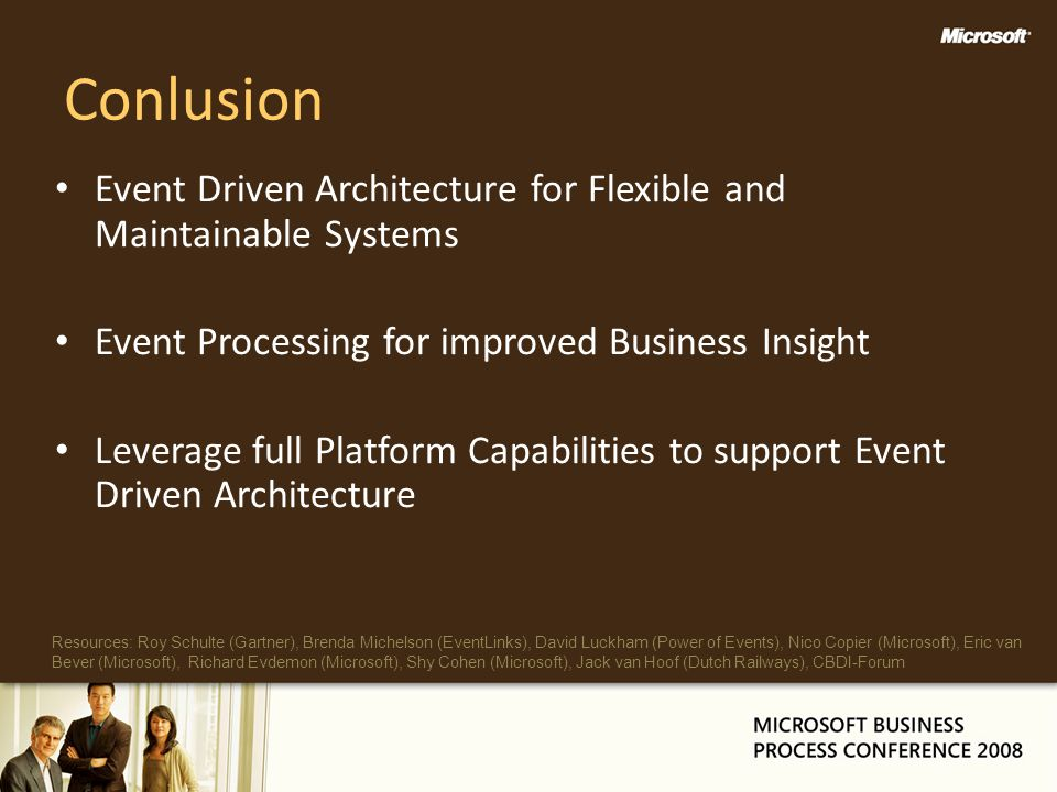 Conlusion Event Driven Architecture for Flexible and Maintainable Systems Event Processing for improved Business Insight Leverage full Platform Capabi
