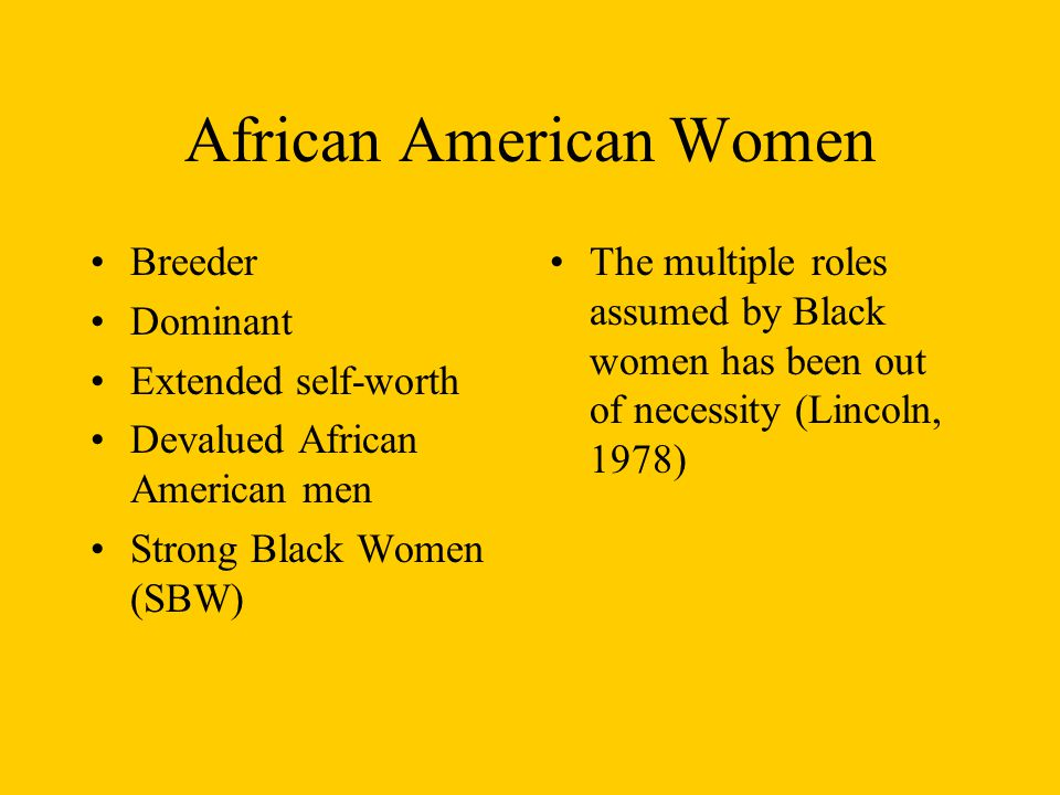 African American Women Breeder Dominant Extended self-worth Devalued African American men Strong Black Women (SBW) The multiple roles assumed by Black