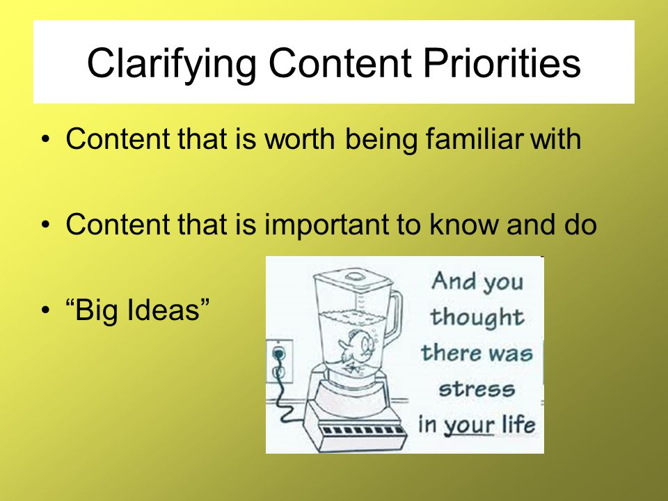 """Clarifying Content Priorities Content that is worth being familiar with Content that is important to know and do """"Big Ideas"""""""