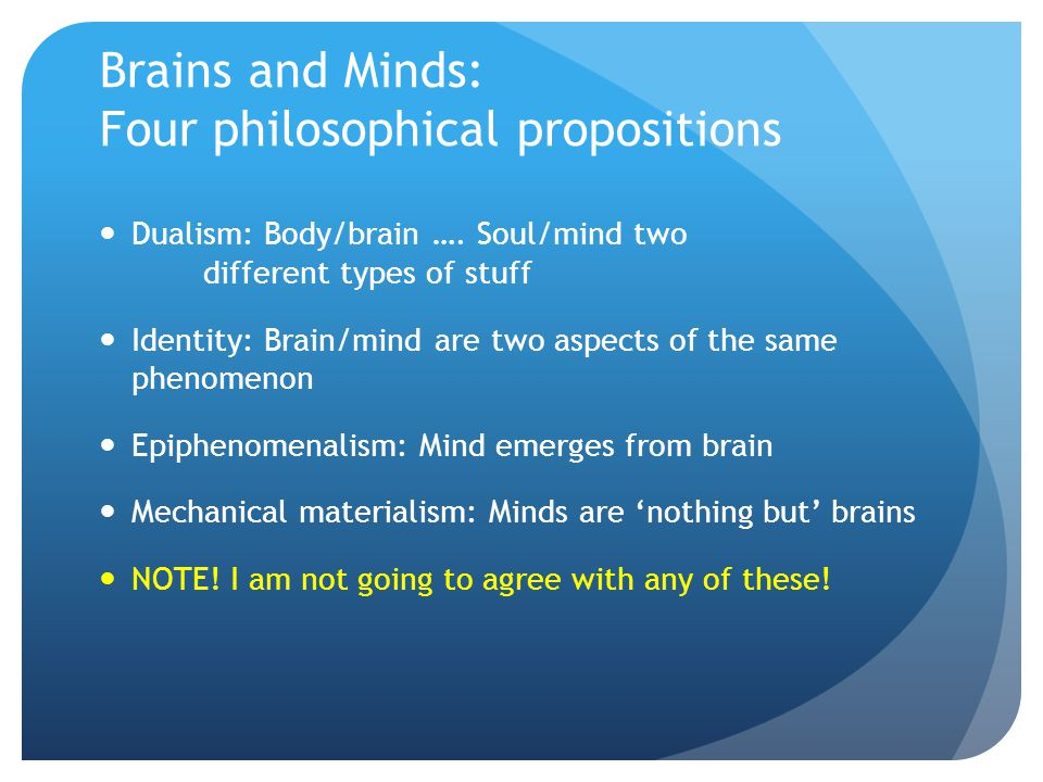 Brains and Minds: Four philosophical propositions Dualism: Body/brain ….