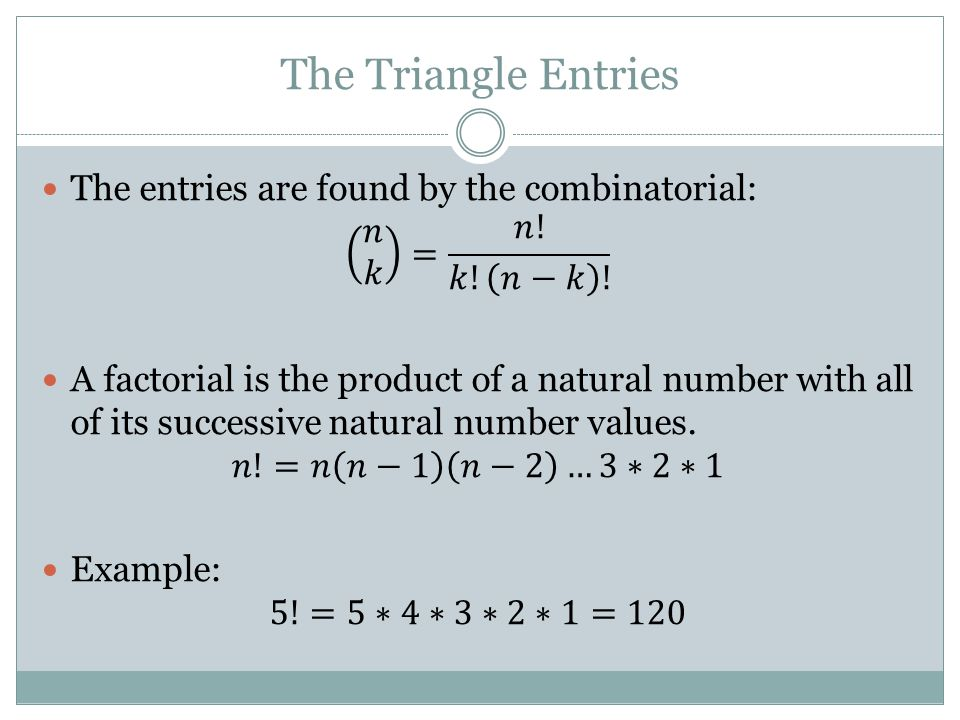 The Triangle Entries