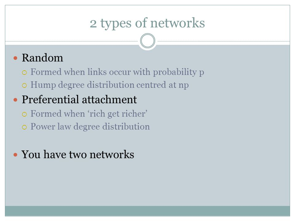 2 types of networks Random  Formed when links occur with probability p  Hump degree distribution centred at np Preferential attachment  Formed when