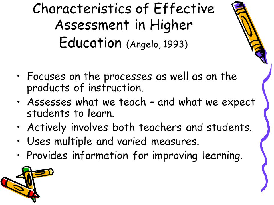 Characteristics of Effective Assessment in Higher Education (Angelo, 1993) Focuses on the processes as well as on the products of instruction.