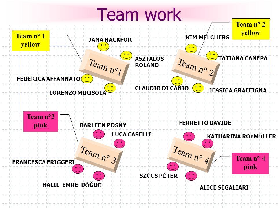 Team n° 2 Team n° 4 Team n°1 Team n° 3 Team n° 4 pink Team n° 1 yellow Team n°3 pink Team n° 2 yellow JANA HACKFOR FEDERICA AFFANNATO ASZTALOS ROLAND LORENZO MIRISOLA KIM MELCHERS TATIANA CANEPA CLAUDIO DI CANIO DARLEEN POSNY FRANCESCA FRIGGERI HALIL EMRE D Ö ĞD Ü LUCA CASELLI KATHARINA RO ß M Ö LLER ALICE SEGALIARI FERRETTO DAVIDE SZ Ü CS P É TER JESSICA GRAFFIGNA