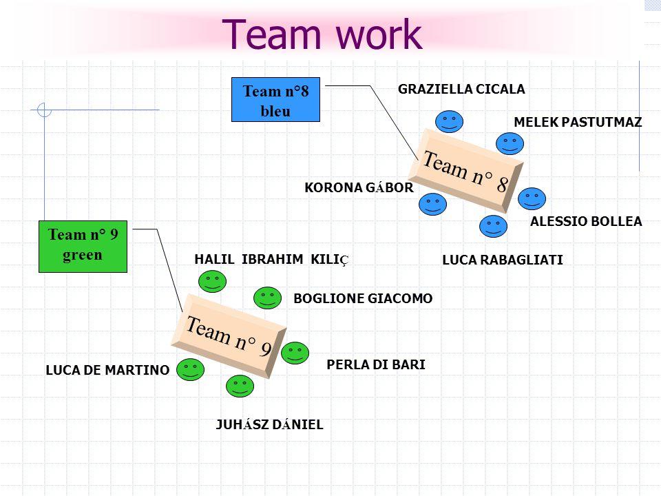 Team work Team n° 9 green Team n° 8 bleu KORONA G Á BOR ALESSIO BOLLEA MELEK PASTUTMAZ GRAZIELLA CICALA HALIL IBRAHIM KILI Ç BOGLIONE GIACOMO JUH Á SZ D Á NIEL LUCA DE MARTINO PERLA DI BARI LUCA RABAGLIATI