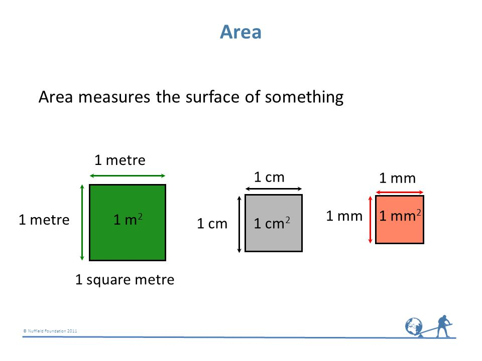 © Nuffield Foundation 2011 Area Area measures the surface of something 1 metre 1 square metre 1 m 2 1 cm 1 cm 2 1 mm 1 mm 2