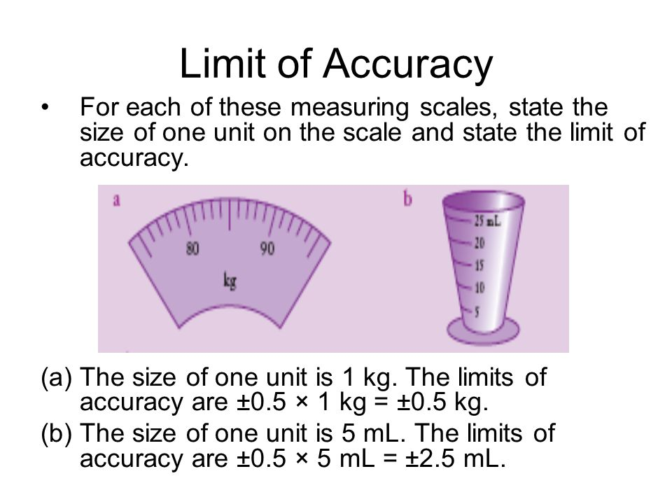 Limit of Accuracy For each of these measuring scales, state the size of one unit on the scale and state the limit of accuracy. (a)The size of one unit