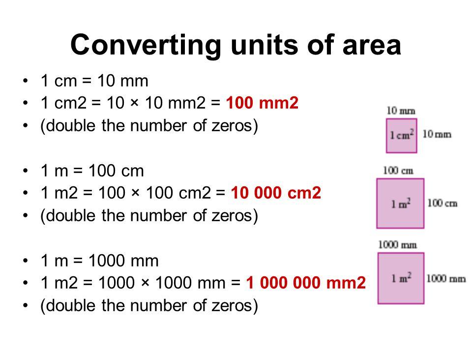 Conversions of Units 1cm 2 = 100mm 2 1m 2 = 10 000cm 2 1m 2 = 1 000 000mm 2