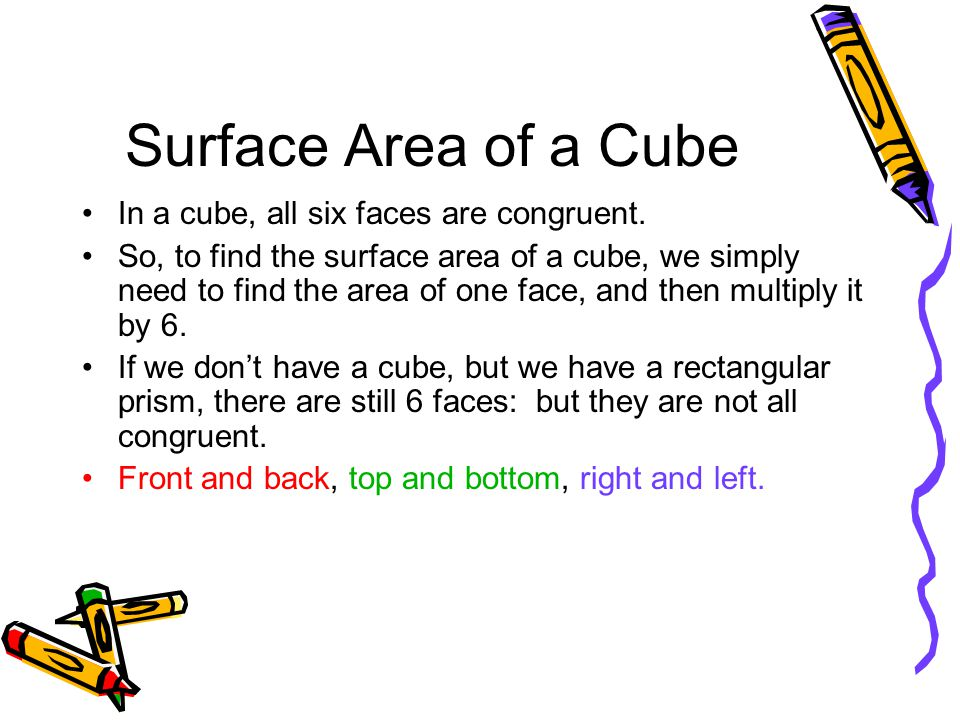 Surface Area of a Cube In a cube, all six faces are congruent. So, to find the surface area of a cube, we simply need to find the area of one face, an