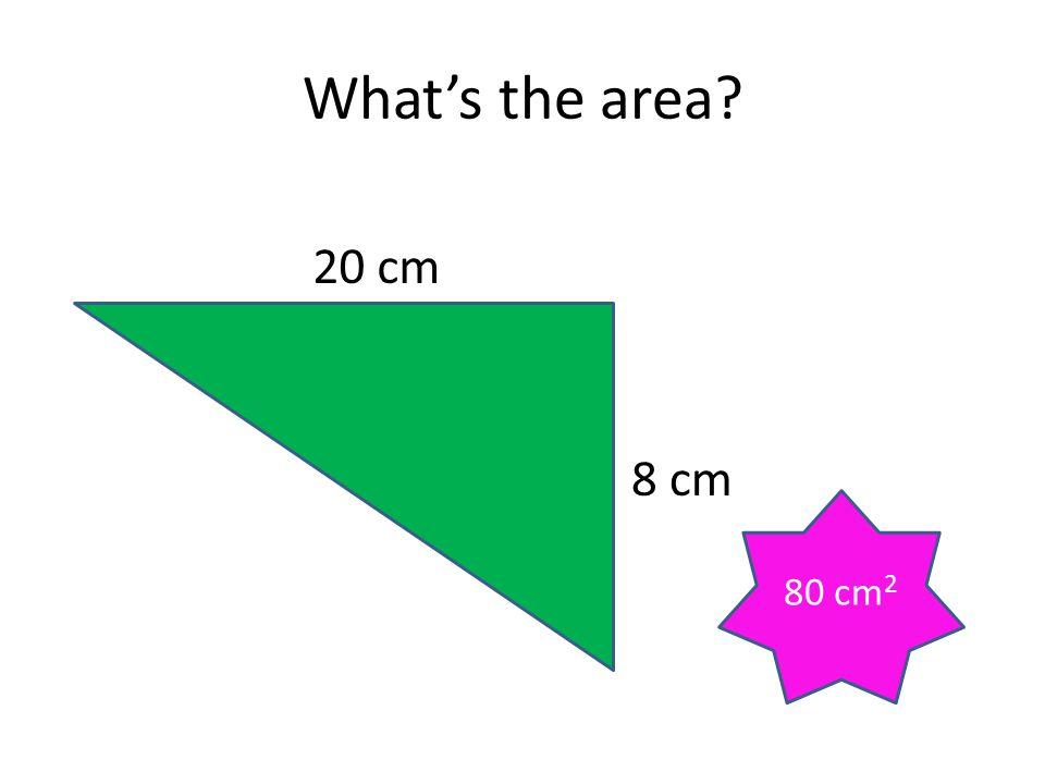 What's the area? 20 cm 8 cm 80 cm 2