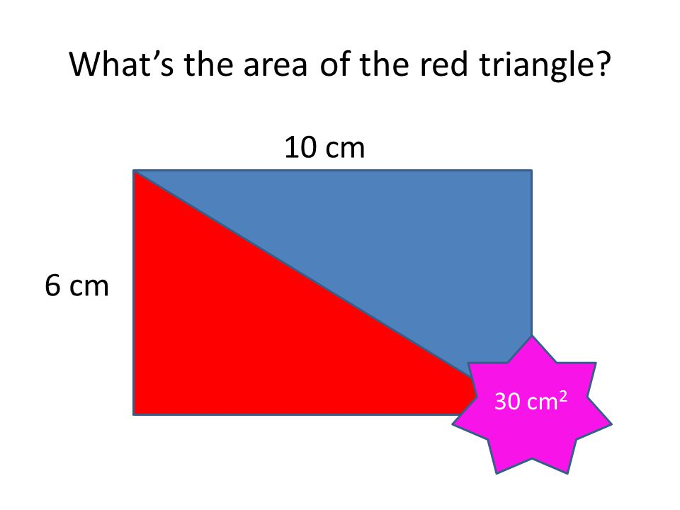 What's the area? 10 cm 8 cm 40 cm 2
