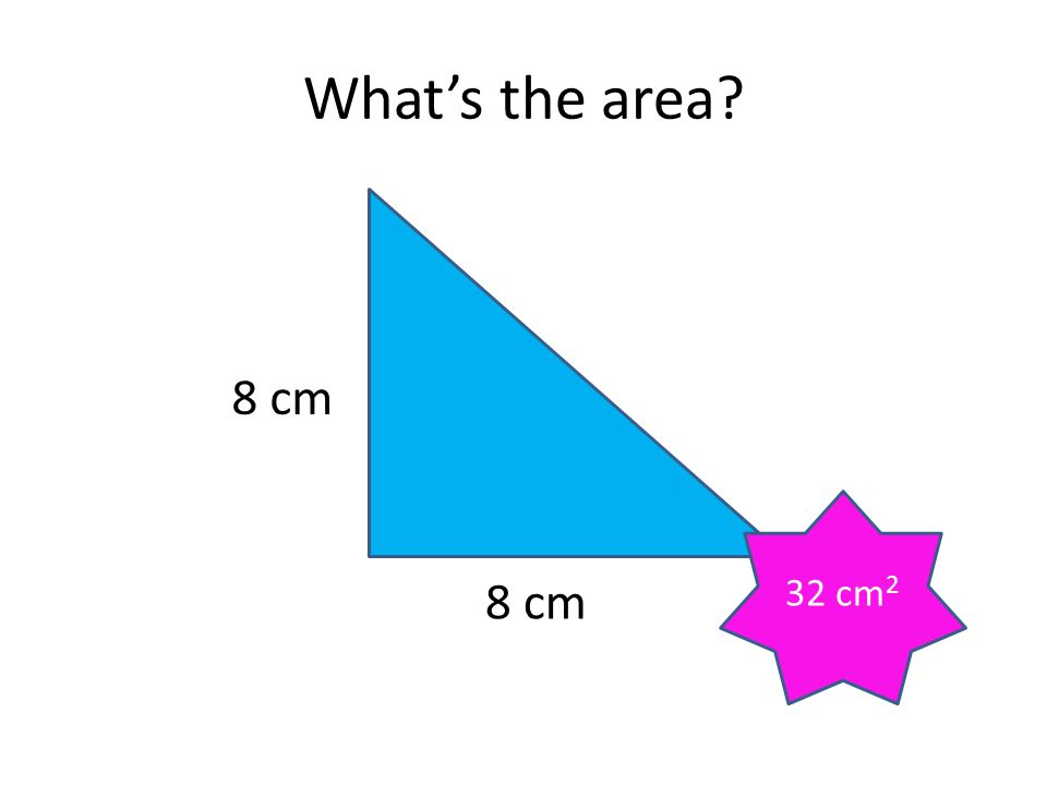 What's the area? 8 cm 3 cm 12 cm 2