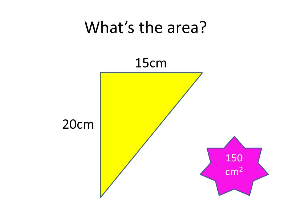 What's the area? 20 cm 8 cm 80 cm 2