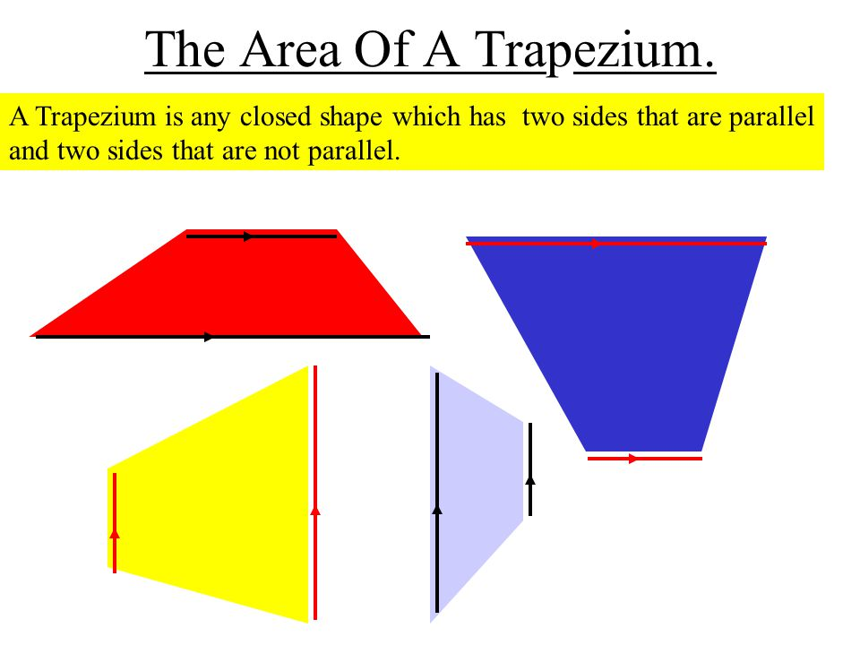 The Area Of A Trapezium. A Trapezium is any closed shape which has two sides that are parallel and two sides that are not parallel.
