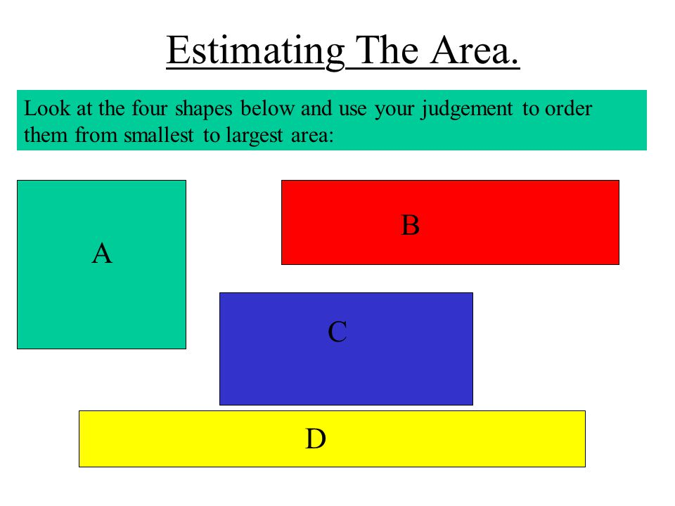 Estimating The Area. Look at the four shapes below and use your judgement to order them from smallest to largest area: A B C D