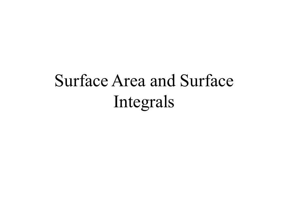 Surface Area Given some surface in 3 space, we want to calculate its surface area Just as before, a double integral can be used to calculate the area of a surface We are going to look at how to calculate the surface area of a parameterized surface over a given region