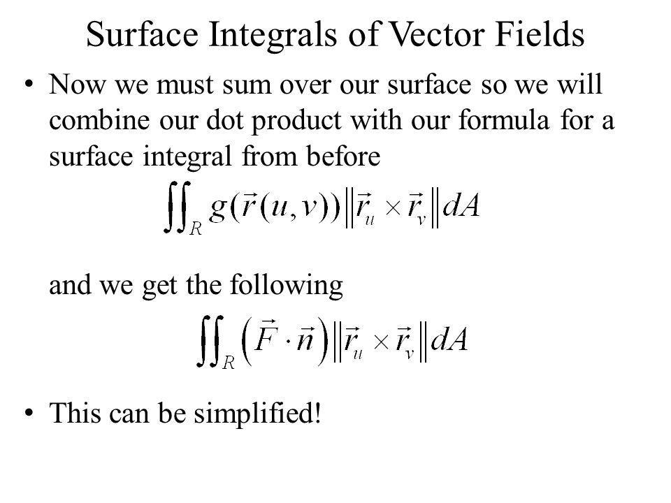 Surface Integrals of Vector Fields Now we must sum over our surface so we will combine our dot product with our formula for a surface integral from be