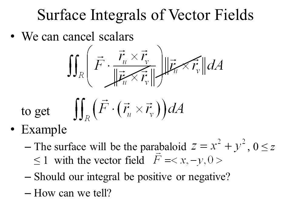 Surface Integrals of Vector Fields We can cancel scalars to get Example – The surface will be the parabaloid, 0 ≤ z ≤ 1 with the vector field – Should