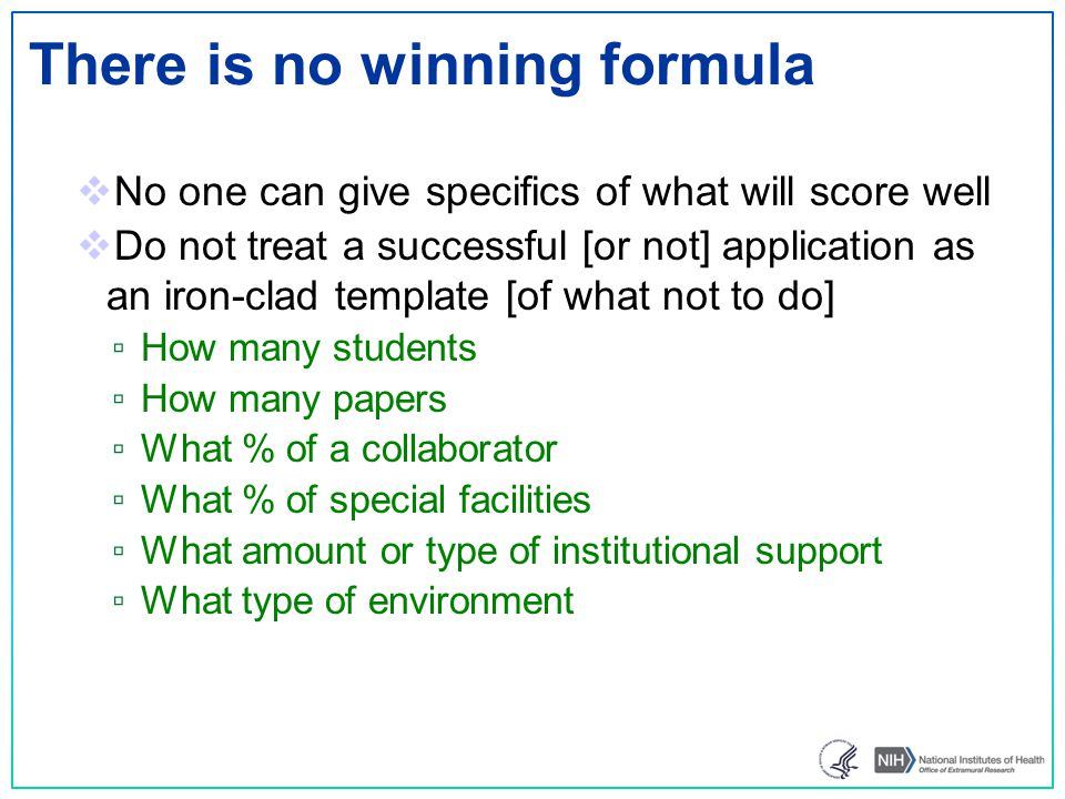 There is no winning formula  No one can give specifics of what will score well  Do not treat a successful [or not] application as an iron-clad templ
