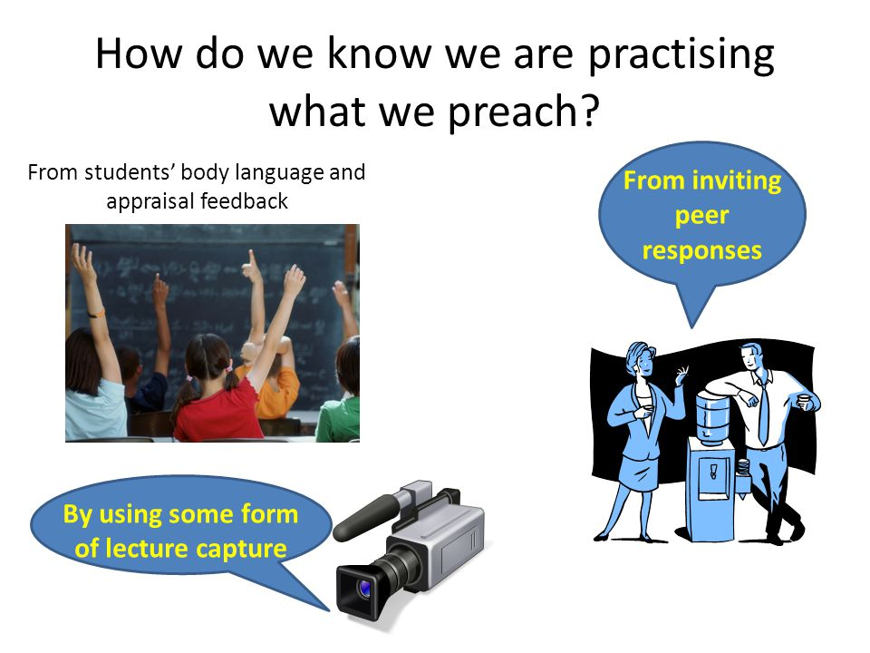 How do we know we are practising what we preach.