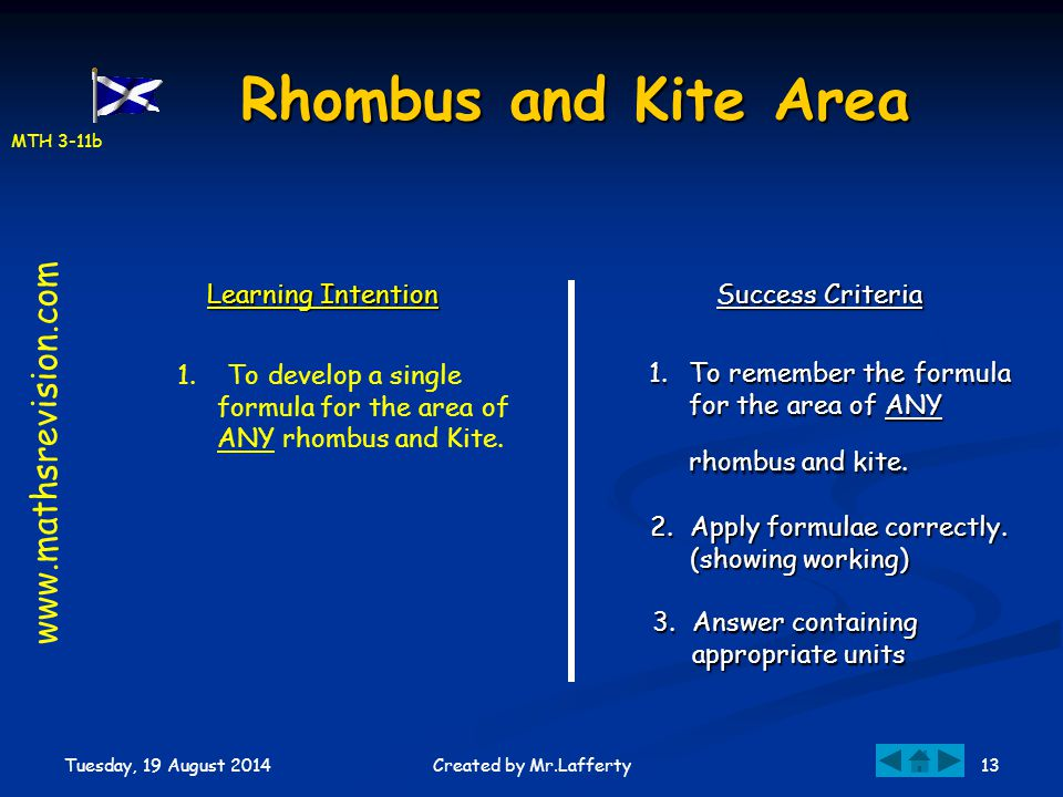 MTH 3-11b Tuesday, 19 August 2014 13Created by Mr.Lafferty Rhombus and Kite Area Learning Intention Success Criteria 1.To remember the formula for the