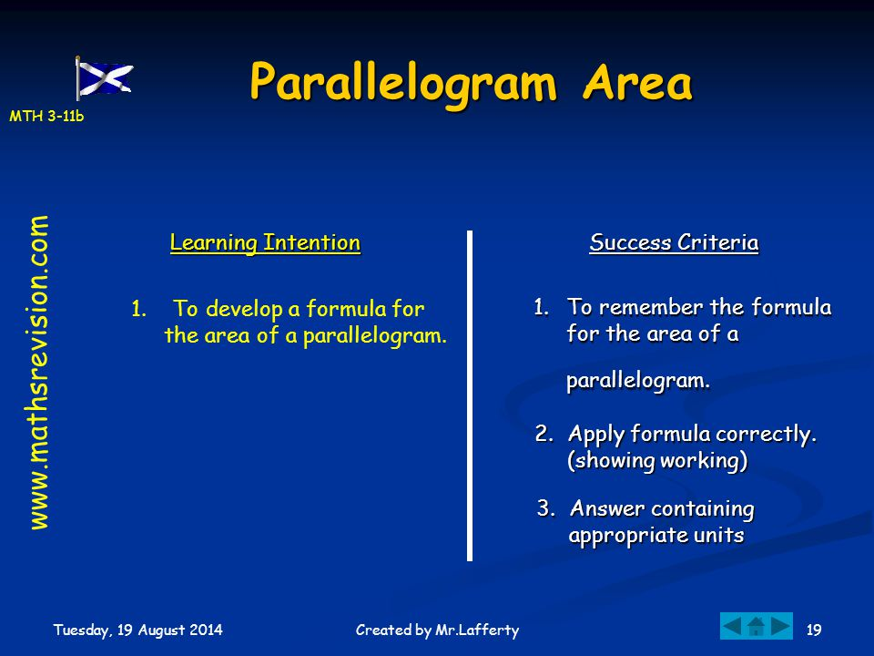 MTH 3-11b Tuesday, 19 August 2014 19Created by Mr.Lafferty Parallelogram Area Learning Intention Success Criteria 1.To remember the formula for the ar