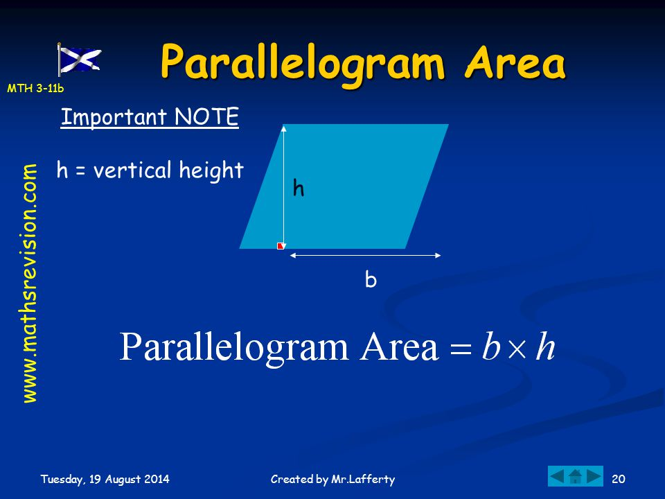 MTH 3-11b Tuesday, 19 August 2014 20Created by Mr.Lafferty Parallelogram Area b Important NOTE h = vertical height www.mathsrevision.com h