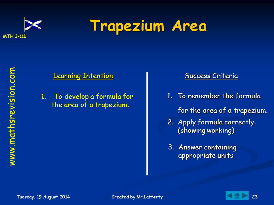 MTH 3-11b Tuesday, 19 August 2014 23Created by Mr.Lafferty Trapezium Area Learning Intention Success Criteria 1.To remember the formula for the area o