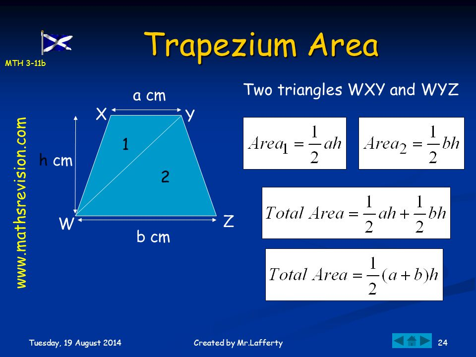 MTH 3-11b Tuesday, 19 August 2014 24Created by Mr.Lafferty Trapezium Area W X Y Z 1 2 a cm b cm h cm Two triangles WXY and WYZ www.mathsrevision.com