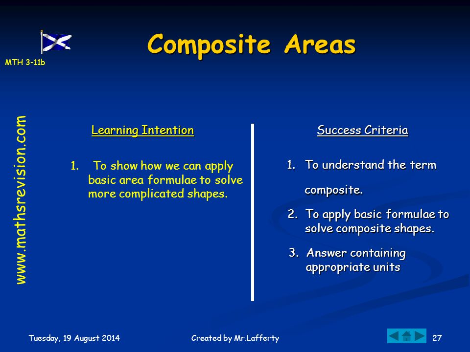 MTH 3-11b Tuesday, 19 August 2014 27Created by Mr.Lafferty Composite Areas Learning Intention Success Criteria 1.To understand the term composite. 1.